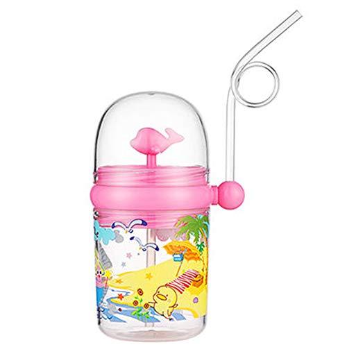 Bingdong Botella plástica de la taza del agua de la paja de los niños del verano de la