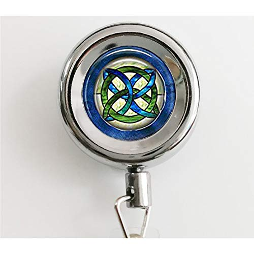 Celtic Wedding Jewelry - Stained Glass Green and Blues Celtic Knot - Celtic Knot Hanger - Irish Jewellery - Celtic Bridal Jewelry Retractable Badge Reel with Waterproof ID Holders & Keychain