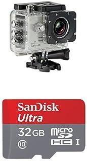 Pack de cámara de acción y tarjeta microSD - SJCam SJ5000X Elite (versión española) - Videocámara deportiva (WiFi integrado 4K pantalla de 2 LCD WiFi sumergible 30 m) color plata y SanDisk Ultra - Tarjeta de memoria microSDHC de 32 GB para Android (con adaptador SD hasta 80 MB/s Clase 10)