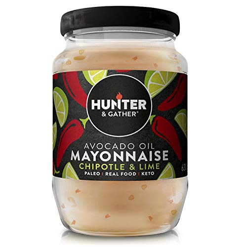 Hunter & Gather Chipotle & Limoen Avocado-olie Mayonaise - 630 g | Gemaakt met Zuiver Avocado-olie en Britse scharreleieren eidooiers | Paleo, Keto, suiker en glutenvrije avocado mayonaise | Rokerig en Pittig