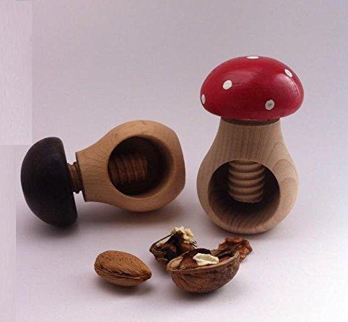 Sables & Reflets 2 Casses Noix/Amandes/Noisettes/Forme de Champignon/Bois d'hêtre d'europe