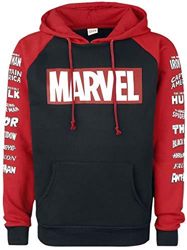 Marvel Logos Hombre Sudadera con Capucha Negro/Rojo M, 65% algodón, 35% poliéster, Regul