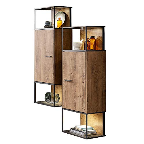 Lomadox Moderne Industrial Stand-/Hängevitrine in Haveleiche Cognac mit Matera anthrazit inkl. LED-Beleuchtung
