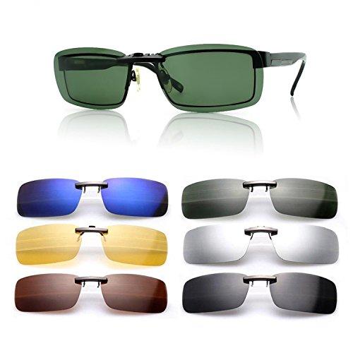 Gafas de sol polarizadas de clip, UV400,para conducción, aire libre, antirreflejos, para hombre y mujer, de Cosprof, Verde oscuro, Milieu