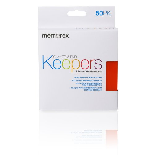 Protetores de CD/DVD Memorex – Mangas de plástico – Pacote com 50