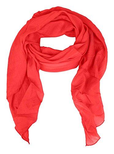 Zwillingsherz Seiden-Tuch für Damen Mädchen Uni Elegantes Accessoire/Baumwolle/Seiden-Schal/Halstuch/Schulter-Tuch oder Umschlagstuch einsetzbar - rot