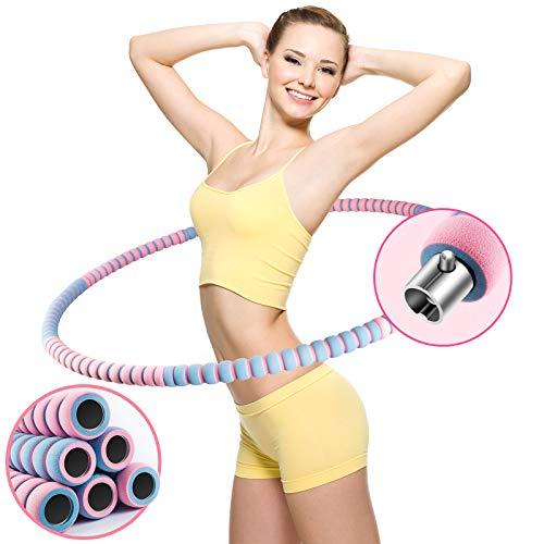 COFOF Hula Hoop Reifen Erwachsene, Abnehmbarer Hula Hoop Reifen mit Stabiler Edelstahlkern, Premium Schaumstoff, Gymnastikreifen für Fitness/Weight Loss/Massage