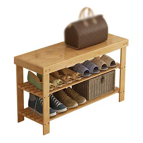 LILICEN LYJ Zapatero 2-Capa Upright Rack de Almacenamiento de bambú Natural 6 Pares de Zapatos 50 X 28 X 45 cm (Anchura x Profundidad x Altura)