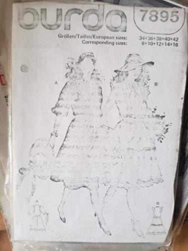 Burda Vintage mehrgrößen Schnittmuster 7895 - Damen Kleid, Rüschenkleid - Gr 34-42