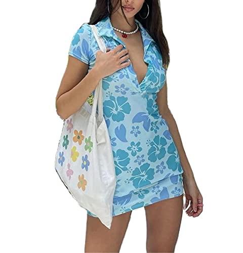 Mujeres Vintage Boho Y2K 90s Sexy Vestido E-Girl Retro Impresión Personalidad Slim Hot Dress Verano Streetwear