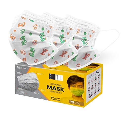 Kids Disposable Face Masks - ENTT Childrens Disposable Face Mask – Face Mask for Kis, Cartoon Printed Disposable Face Mask for Kids – 3 Layer Breathable 50 Pcs Mask for Girls, Boys, Children, Toddlers