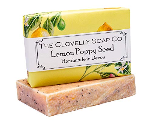 Clovelly Soap Co Natürliche handgemachte Peeling Seife Zitrone, Mohn & Kurkuma für alle Hauttypen 100g