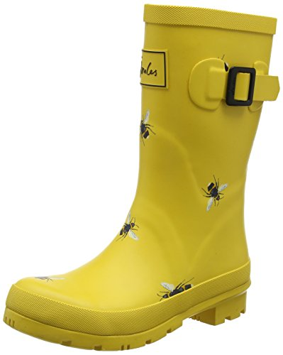 Joules Women's Molly Welly Gold Botanical Bees Knee-High Rubber Rain Boot - 7M