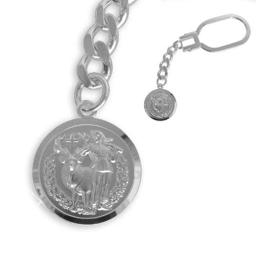 Heiliger Hubertus Schlüsselanhänger echt Sterling Silber Durchmesser 18mm (Art.603009/213233) Gratis Express Gravur