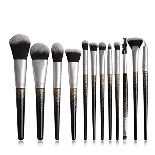 ANYIKE 12st make-up kwastenset, professionele poeder foundation oogschaduw eyeliner lipborstels make-up kit met houten handvat voor meisjes dames