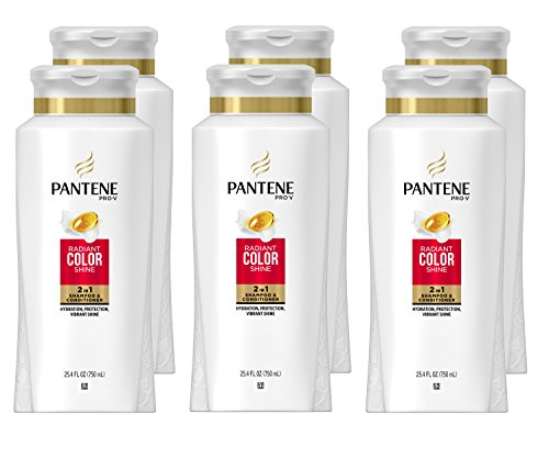 Pantene Pro-V Radiant Color Shine 2 in 1 Shampoo & Conditioner, 25.4 fl oz (Pack of 6) (Packaging May Vary)