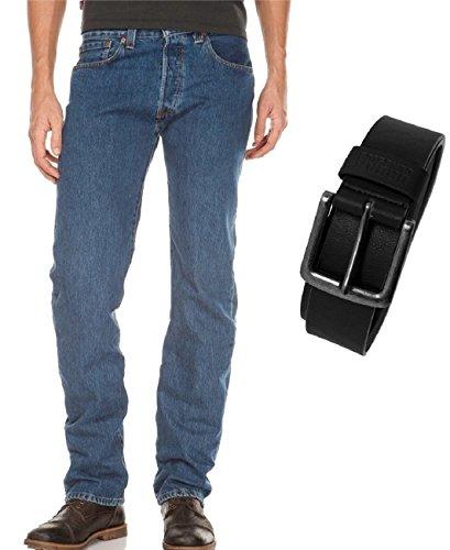 Levi's® 501® Jeans - Regular Straight Fit - Stonewash - Onewash - Marlon Wash - Black - Light Broken In mit Urban Classics Gürtel, Größe:W 31 L 34, Wash:stonewash (00501-0114)