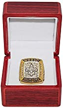 NEW ORLEANS SAINTS (Drew Brees) 2009 SUPER BOWL XLIV WORLD CHAMPIONS (31-17 Victory Vs. Colts) Rare Collectible Gold Football Championship Replica Ring with Cherrywood Display Box