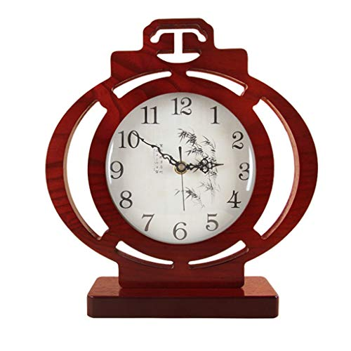 Reloj de Péndulo Estilo chino sala de estar reloj mute linterna arte creativo retro reloj escritorio adornos de madera estudio de madera pequeña mesa reloj rojo Decorativo Reloj de Pared ( Color : B )