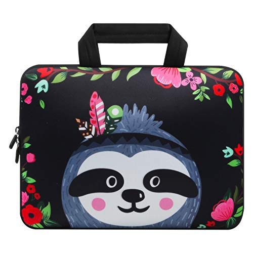 Violet Mist 11 11.6 12 12.1 Inch Laptop Sleeve Bag Carrying Case Neoprene Notebook Protective Bag Chromebook Tablet Cover with Handle for Office Men Women(Sloth,12')