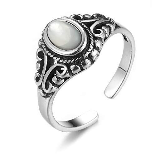 Lotus Fun S925 Sterling Silber Ring Türkis Muschelstein Alt Öffnungen Ringe Natürlicher Kreativ Beliebt Handgemachter Einzigartiger Schmuck für Frauen und Mädchen (Style 2, 49-60)