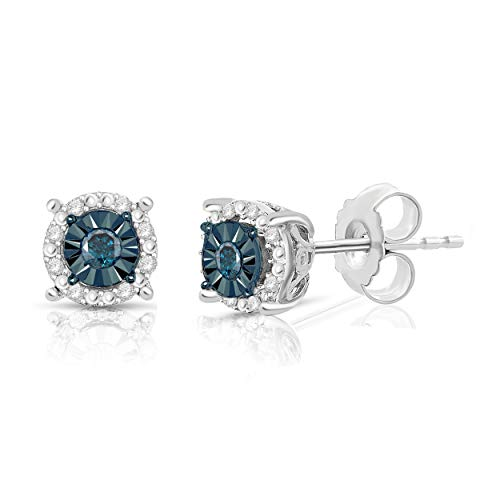 NATALIA DRAKE 1/4 Cttw Round Halo Blue Diamond Stud Earrings for Women in Rhodium Plated Sterling Silver (Color I-J/Clarity I2-I3)