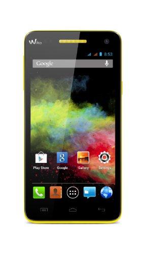 Wiko Rainbow Smartphone (12,7 cm (5 Zoll) Bildschirm, 4GB interner Speicher, Android 4.2) neon gelb