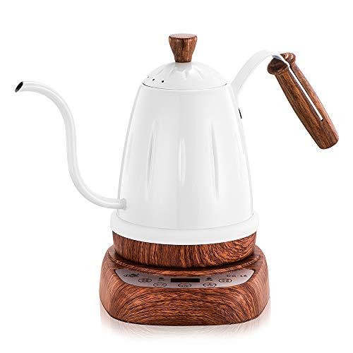 Electric Tea Kettle Wood Texture Teapot Pour-Over Hot Water Gooseneck Narrow Spout Coffee Maker Brewing Machines with Variable Temperature Control and Timer
