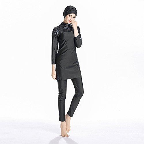 ziyimaoyi konservative Muslimische Bademode Islamischer Badeanzug Frauen Hijab Bademode volle Abdeckung Bademode Muslim SurfBeachwear Badeanzug, Schwarz , Large
