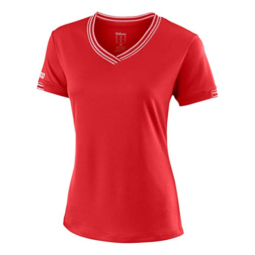 Wilson Femme T-Shirt Col V, W TEAM V-NECK, Polyester, Rouge (Wilson Red), Taille XL, WRA770005