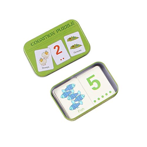 CNmuca Cartão Cognitivo Infantil Universal com Caixa de Transporte de Ferro Cartão de Aprendizagem Infantil Inglês Ferramenta para Aprender Ferramentas Educativos multicolor 30 palavras