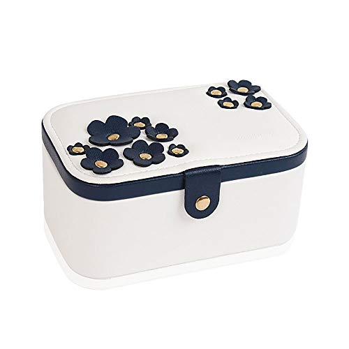 SSH-Jewelry Box Mini Joyero Organizador De Piel SintéTica para Viajes, Joyero, Anillos, Pulseras, Aretes, Collares, Forro De Terciopelo (Blanco)