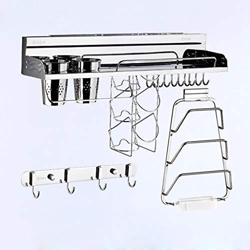 CHLFshelves RVS geperforeerde opbergplanken voor wandopslag, hangende messenhouder, keukengerei voor kruiden, multi-size en multi-style optioneel