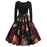 beautyjourney Vestido de Fiesta de Noche de Las señoras de Navidad Vestido Túnica Estampado O Manga Larga Vestido de Coctail Vestido Elegante del oscilación de la Vendimia