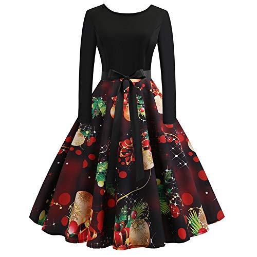 VEMOW Elegantes Design Damen Cocktailkleid Herbst Abendkleid Damen Vintage Kleider Print Langarm Weihnachts Abend Party Swing Kleid 2018(X5-Schwarz 2, 36 DE/L CN)