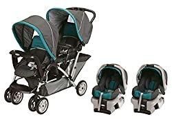 Baby Trend Sit N Stand Tandem Stroller with 2 Car Seats
