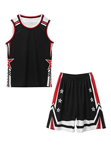 FEESHOW Kinder Jungen Mädchen Basketball Trikot Anzug 2 Stück Sommer Sport Trainingsanzug Athletic Loungewear ärmelloses Weste Tops und Shorts Set Schwarz 158-164