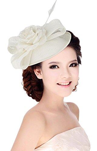 La Vogue Femme Chapeau Cérémonie Barrette Voilette Mariage Cheveux Mariées Fête Blanc