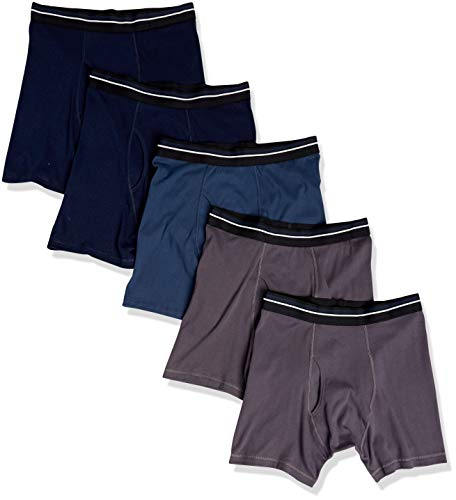 Amazon Essentials 5-Pack Tag-Free Boxer Briefs, Azul (Charcoal Blue/Dark Navy), X-Small