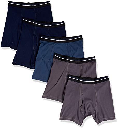 Amazon Essentials Men's 5-Pack Tag-Free Boxer Briefs, Charcoal/Dark Blue/Dark Navy, Medium