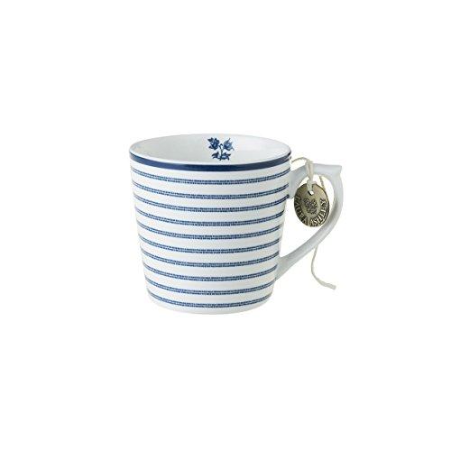 Laura Ashley - Henkelbecher, Henkeltasse, Tasse - Blueprint Candy Stripe - 12 x 8,9 cm - Groß