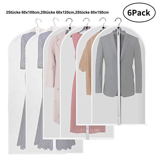 6 Stücke Kleidersack Extra lang 2x 60x100cm 2x 60x120cm 2x 60x150cm Anzugsack Kleiderhülle Anzughülle aus atmungsaktivem Klar Leichte Kleiderbeutel für Lange Kleid Tanzkostüme Anzüge Kleider Mäntel