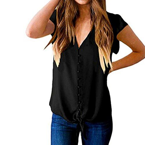 2018 Damen Shirt Kurzarm Ronamick Women's Casual V-Ausschnitt Tasten Ärmel Lose Krawatte Front Shirt Bluse Top (Schwarz, M)
