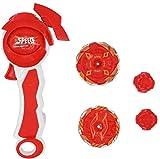 ML Peonza Infinity Nado 5 Jade Bow con Lanzador magnético Giratorio - Giroscopio de Alta Clase Juguete Metal fusión 4D constelación Batalla (Rojo bis)