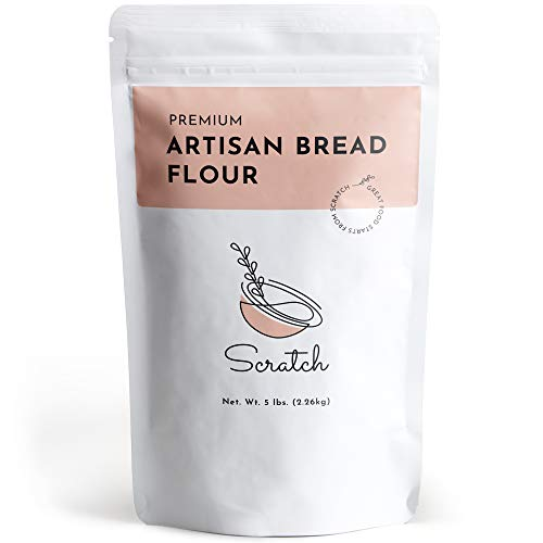 Scratch Premium Artisan Unbleached Bread Flour - (5 LB) - Gourmet Baking Ingredients - Perfect for Bread Machine - Make High-Quality Breads, Pizza Crust, Pasta, Pastries, Dough, & Croissants