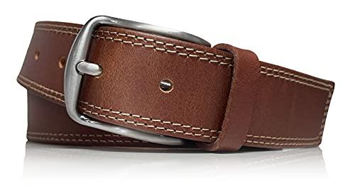 almela - Cinturón piel - Hombre y Mujer - Piel vaquetilla - Cuero vaquetilla- Doble costura sport - Jeans, vaquero, tejano, pantalón, vestir, traje -Unisex - 35mm - leather belt