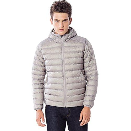 TAK Daunenjacke Herren Übergangsjacke Outdoor Leicht Down Jacket Casual Steppjacke mit Kapuze, Grau, S