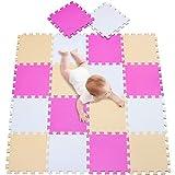 meiqicool 18 Pcs Alfombra Puzzle Infantiles 142x114 cm Blanco Rosa y Beige Goma Espuma Alfombrillas para Puzzles 010310