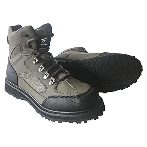 8 Fans Zapatos de pesca de caza de vadeo antideslizantes suela de goma duradera ligera Waders botas, color Verde, talla 47 EU