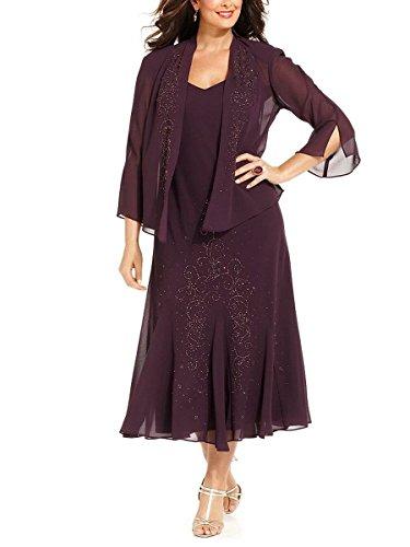 R&M Richards Women's 14W- 34W Plus Size Beaded Jacket Dress - Mother of The Bride Dresses (Eggplant, 22W)